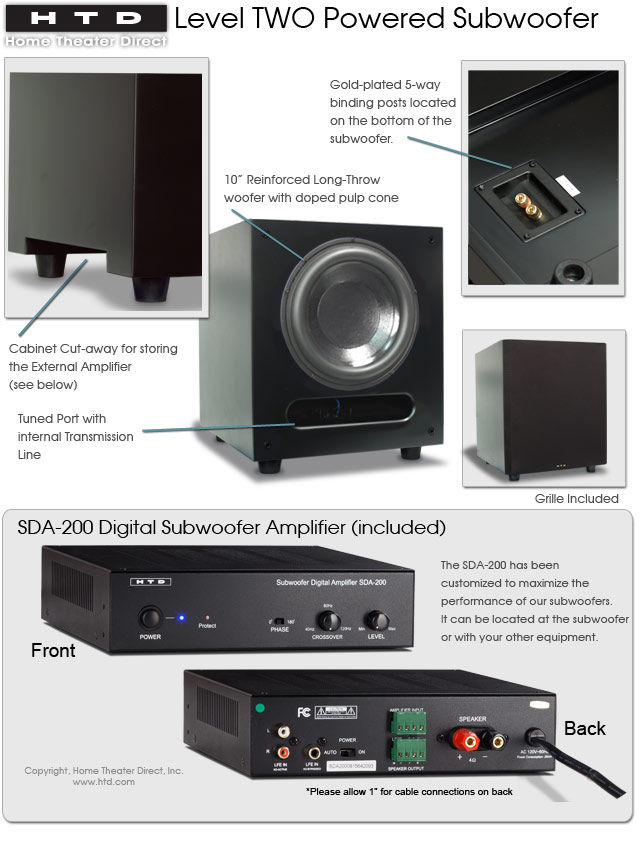 Level TWO Powered Subwoofer Features